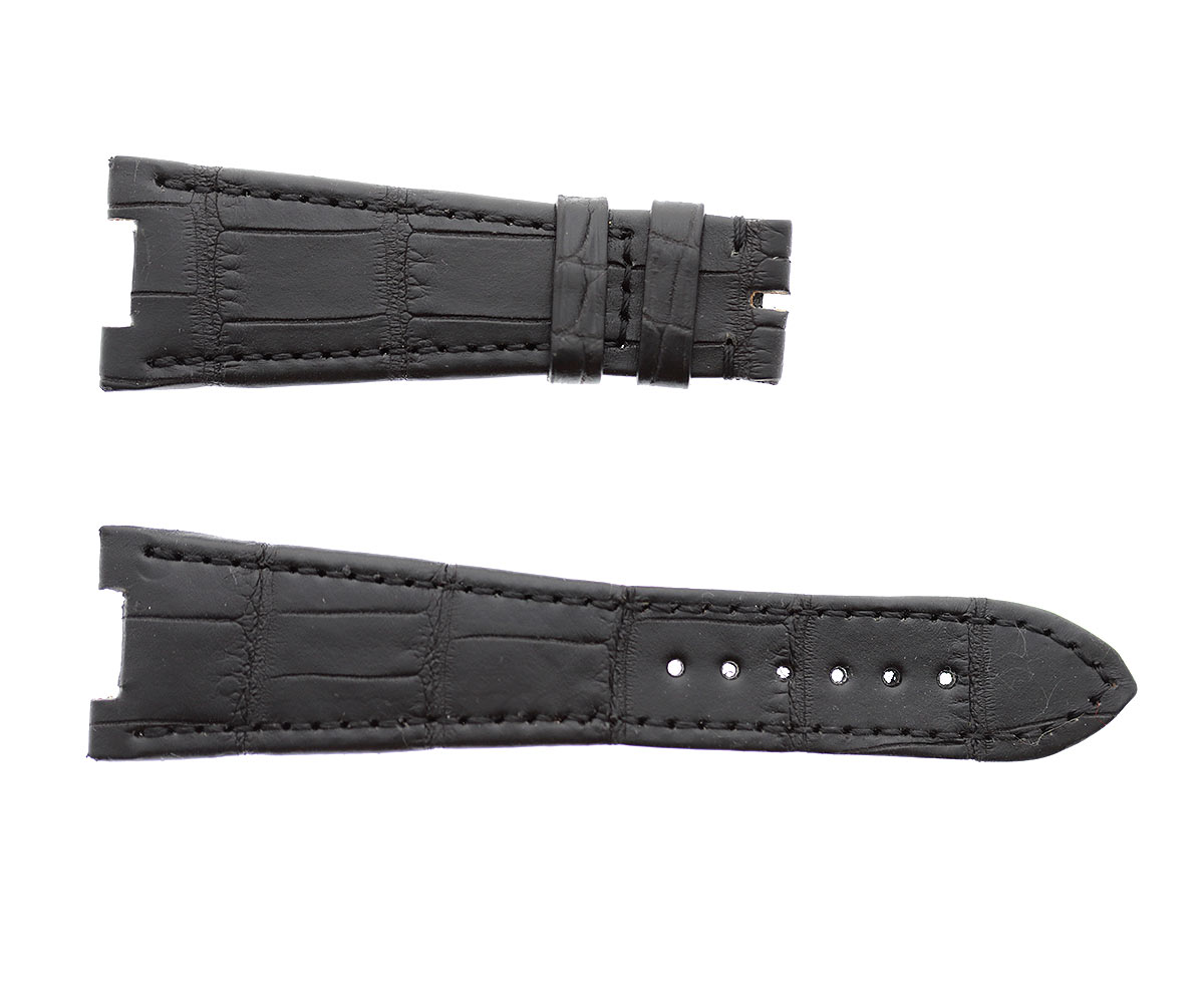 Patek Philippe Nautilus style watch strap 25mm in Black matte Alligator leather. Black hydro-repellent leather lining