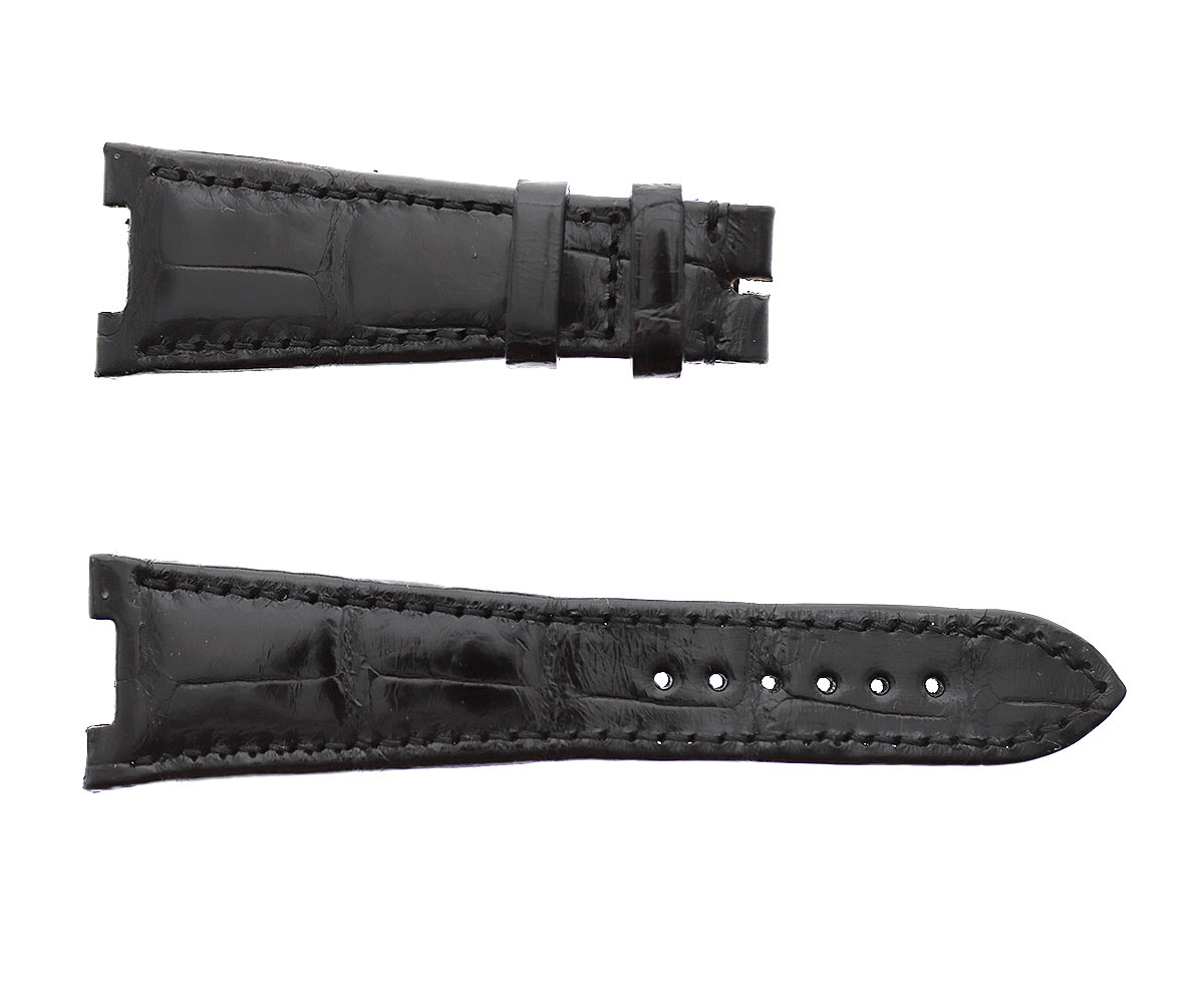 Patek Philippe Nautilus style watch strap 25mm in Black Shiny Alligator leather. Black hydro-repellent leather lining