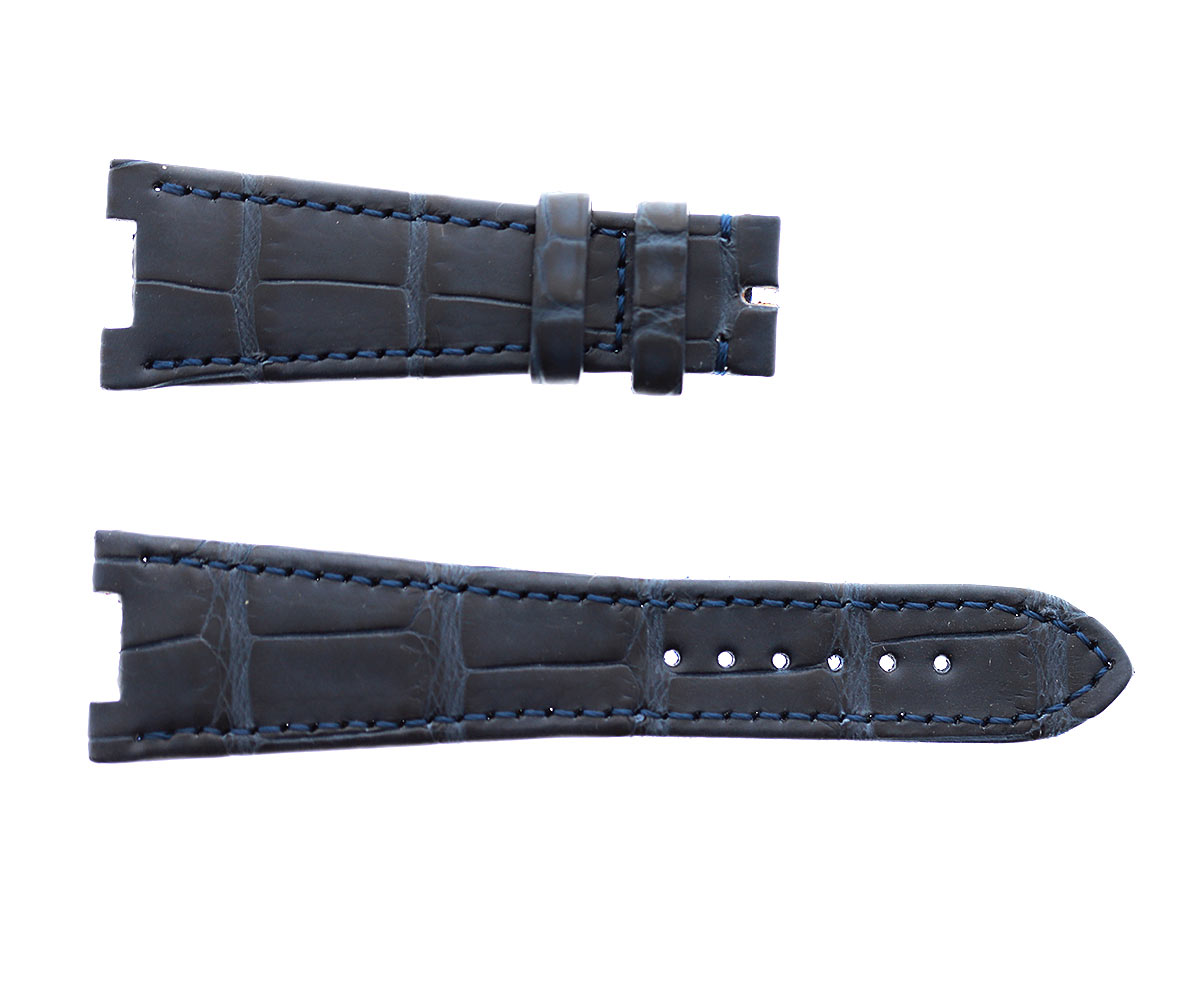 Patek Philippe Nautilus style watch strap 25mm in Dark Blue matte Alligator leather. Alcantara lining