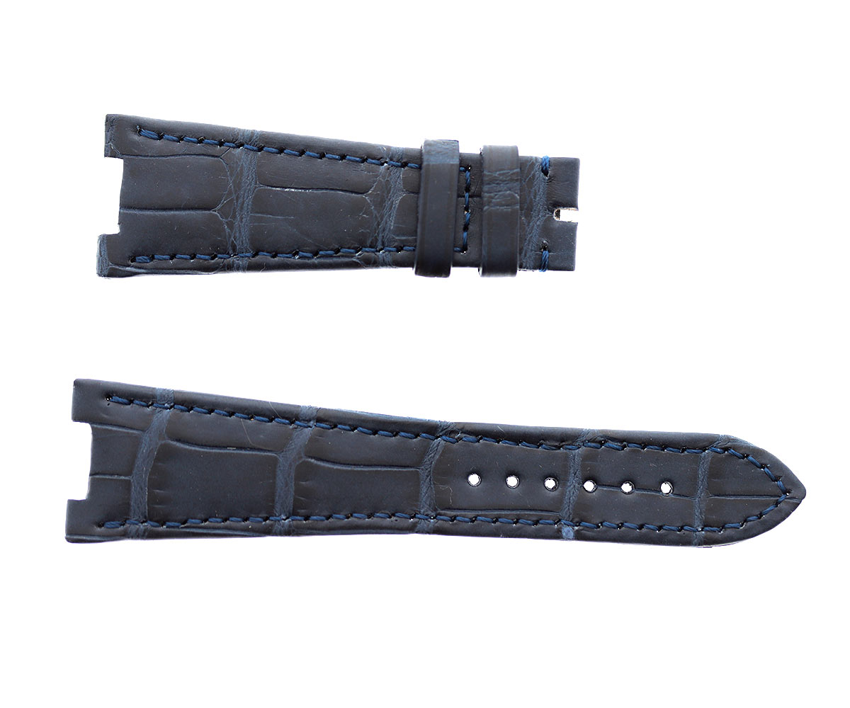 Patek Philippe Nautilus style watch strap 25mm in Dark Blue matte Alligator leather. Blue stitching