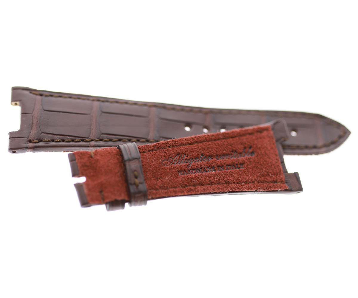 Patek Philippe Nautilus style watch strap 25mm in Brown Impermeable Alligator leather