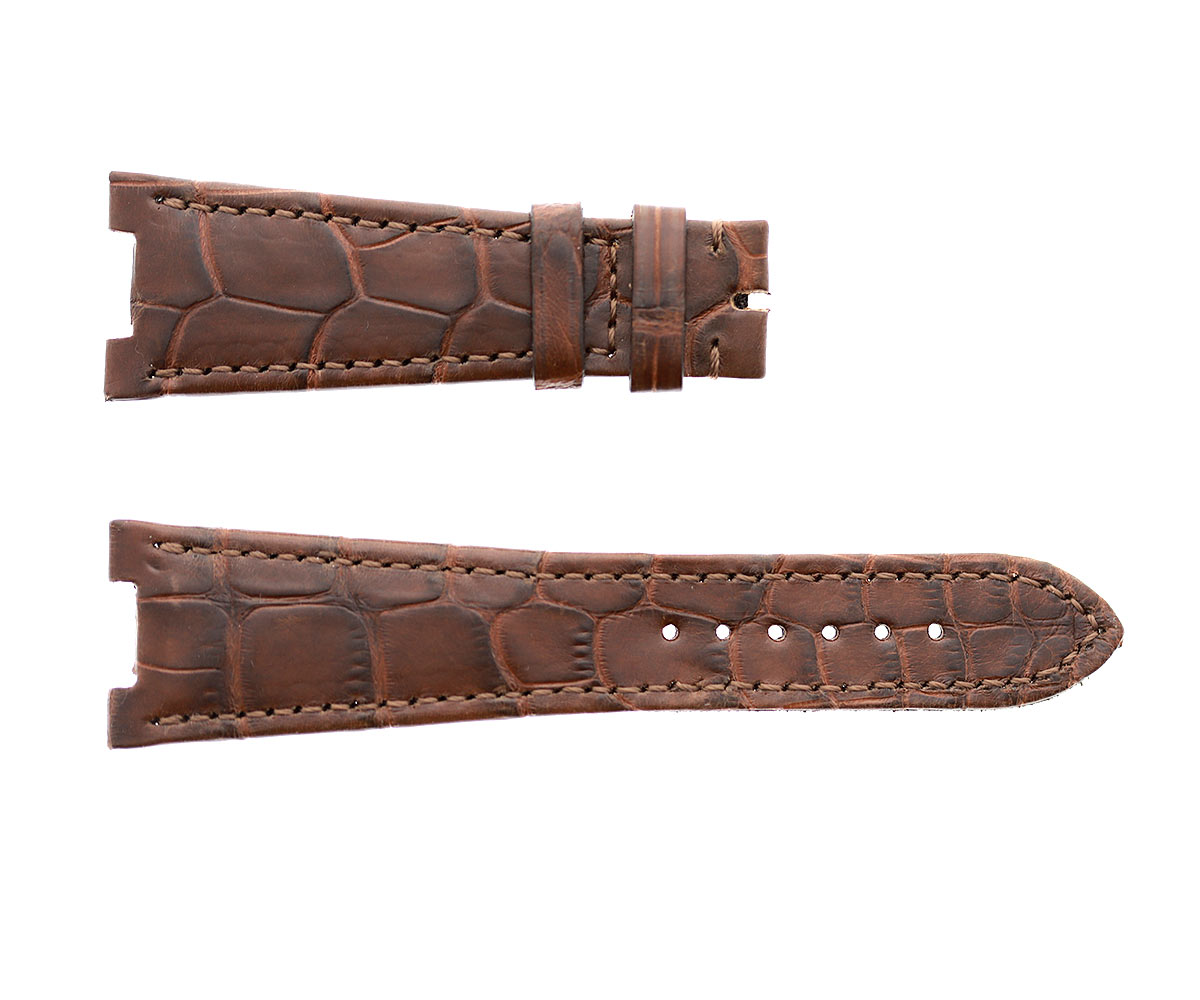 Patek Philippe Nautilus style watch strap 25mm in Cognac Brown Matte Alligator leather. Alcantara lining