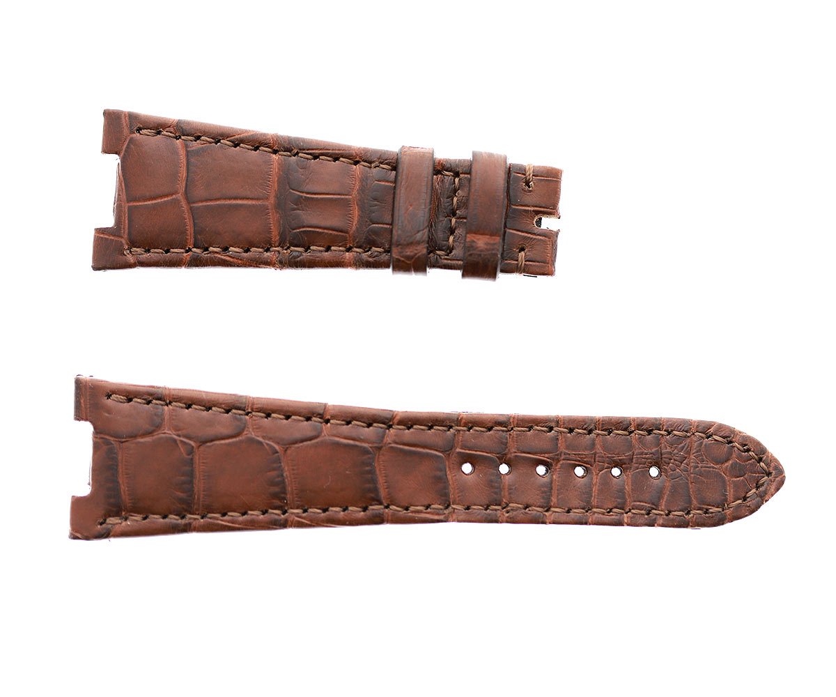 Patek Philippe Nautilus style watch strap 25mm in Cognac Brown Matte Alligator leather