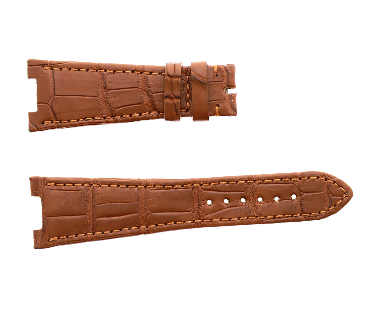 Honey Brown Patek Philippe Nautilus style watch strap 25mm in Alligator leather. Beige Calf lining