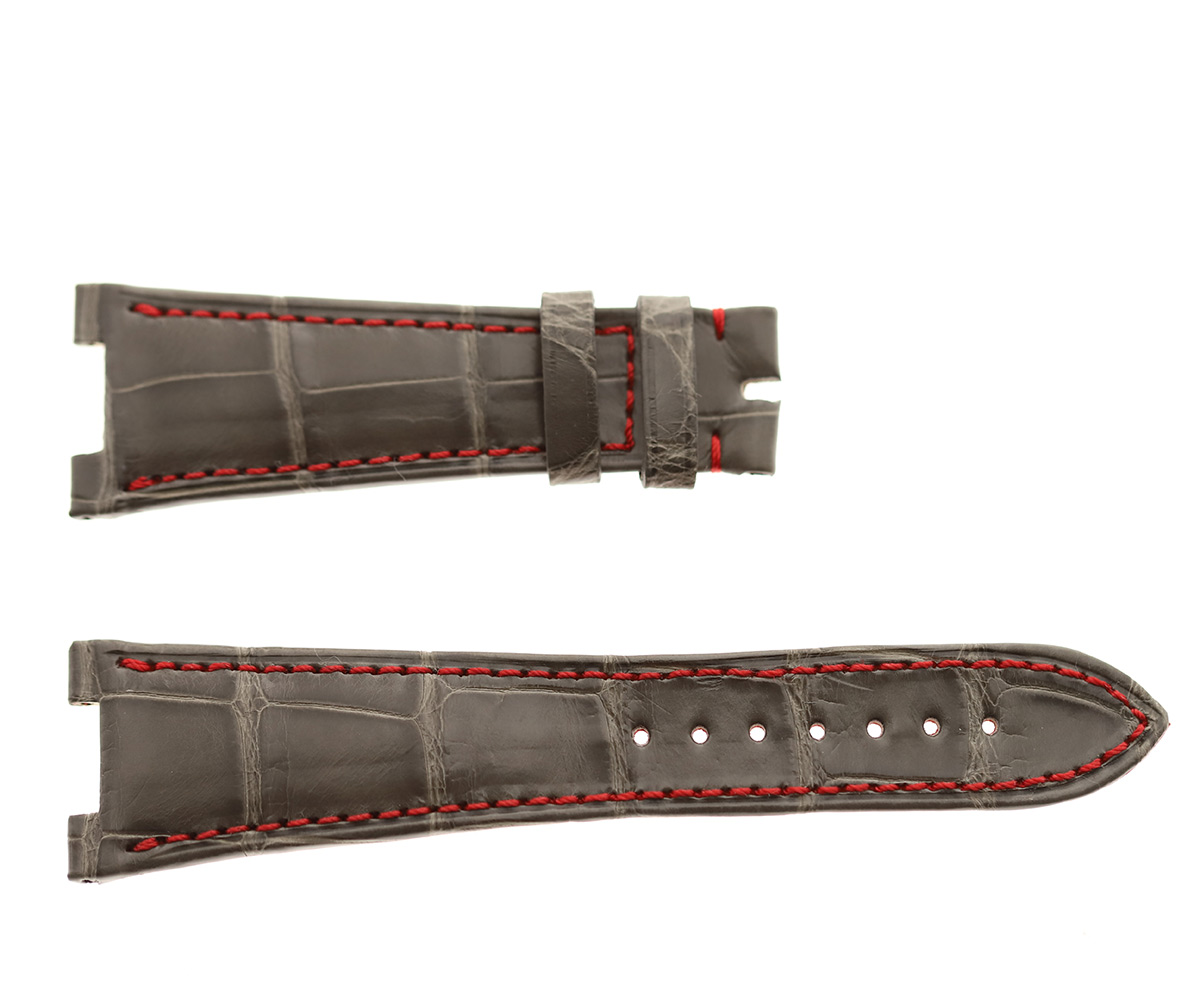 Light Grey with Red stitching Patek Philippe Nautilus style watch strap 25mm in Alligator leather