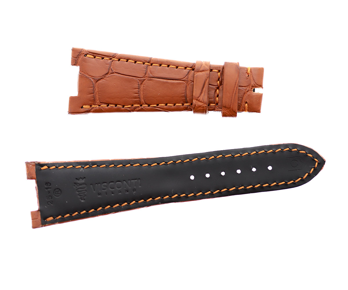 Honey Brown Alligator leather strap 25mm Patek Philippe Nautilus style. Rubberized lining