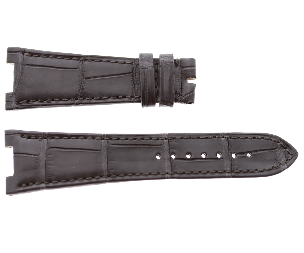 Patek Philippe Nautilus style watch strap 25mm in Grey matte Alligator leather. Grey stitching