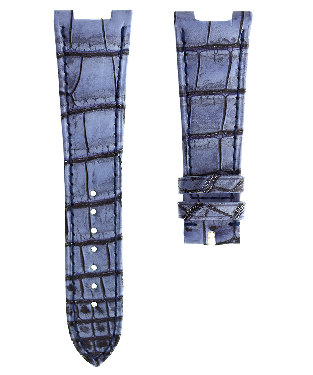 Vintage Blue Patek Philippe Nautilus style watch strap 25mm in Latirostris Alligator leather