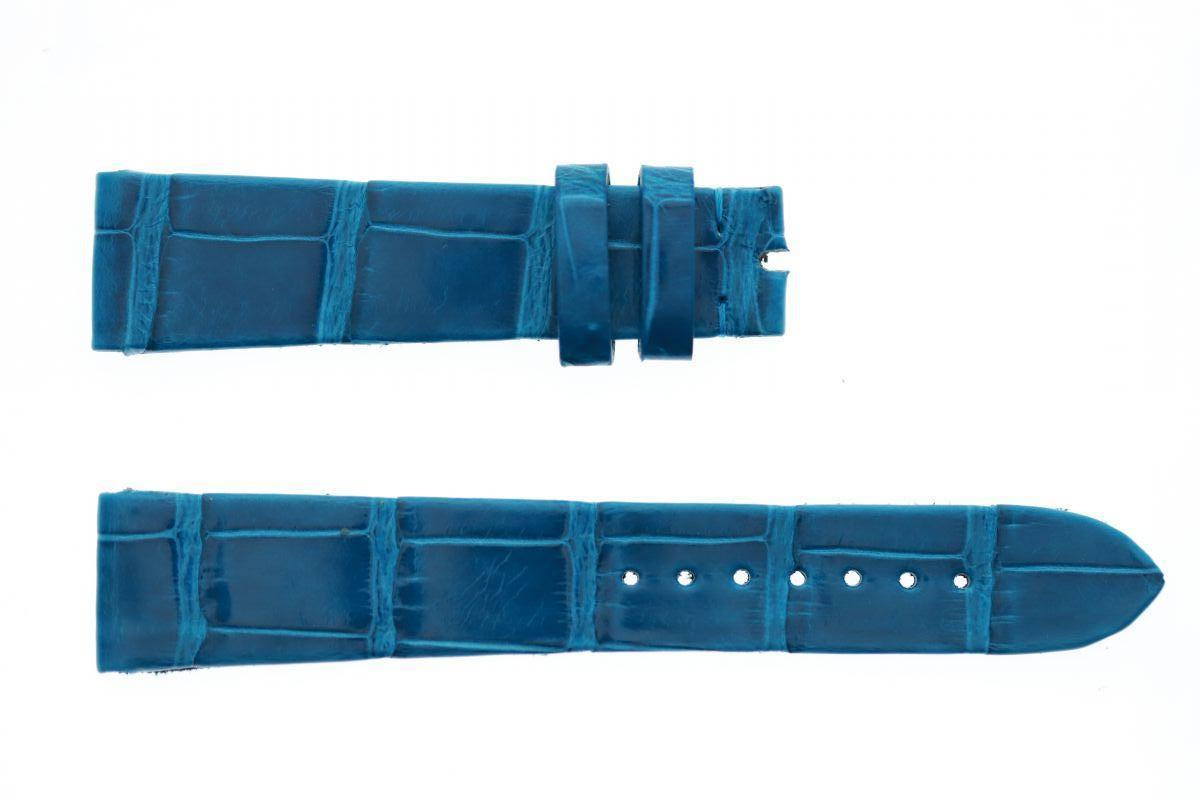 Italian Blue / Carta da Zucchero Gloss Alligator leather strap 19mm Patek Philippe Vintage style