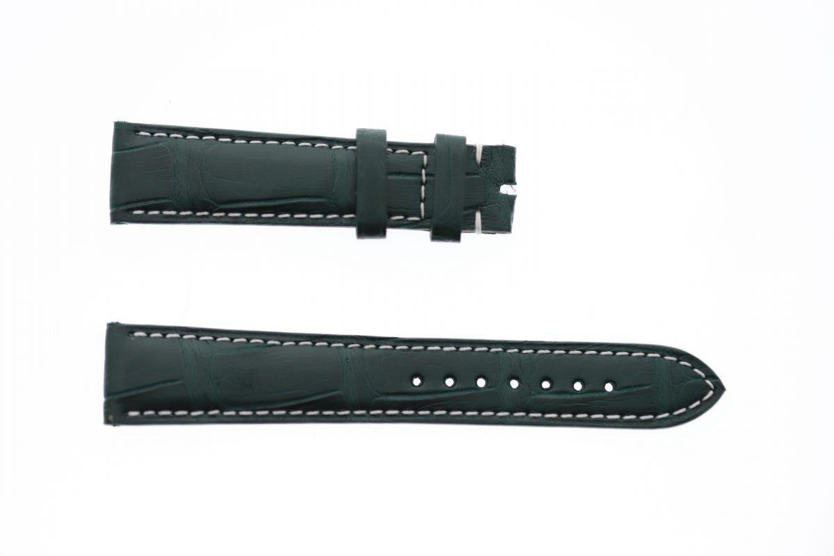 Jungle Green Matte Alligator leather strap 19mm Patek Philippe style