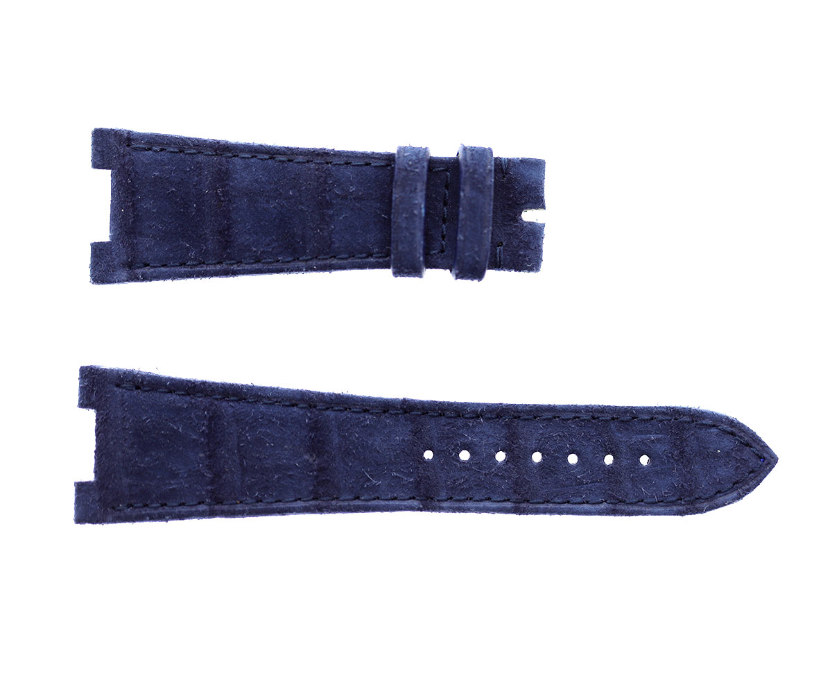 Patek Philippe Nautilus style watch strap 25mm in Blue Suede-touch Nubuck Alligator leather. Blue stitching