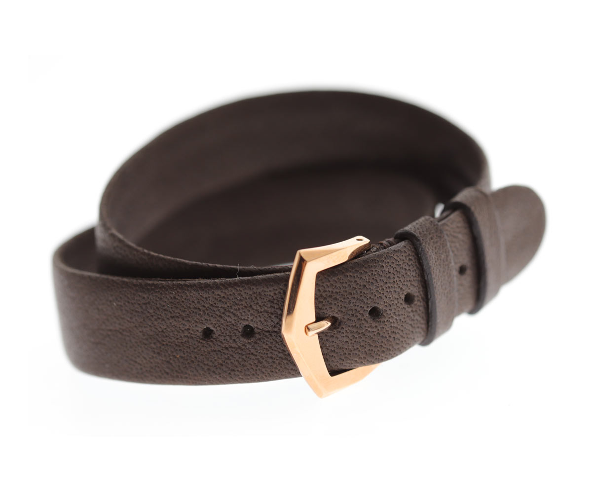By Order. Exclusive Double Turn wrist bracelet in Brown Hydro Repellent Calf leather