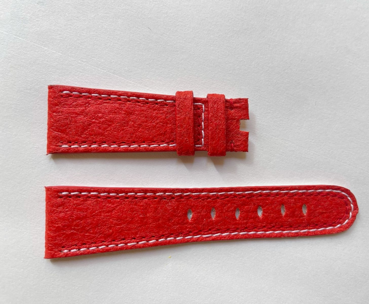 Red Paprika Pinatex Strap 16mm, 18mm, 19mm, 20mm, 21mm, 22mm General style. Double stitching