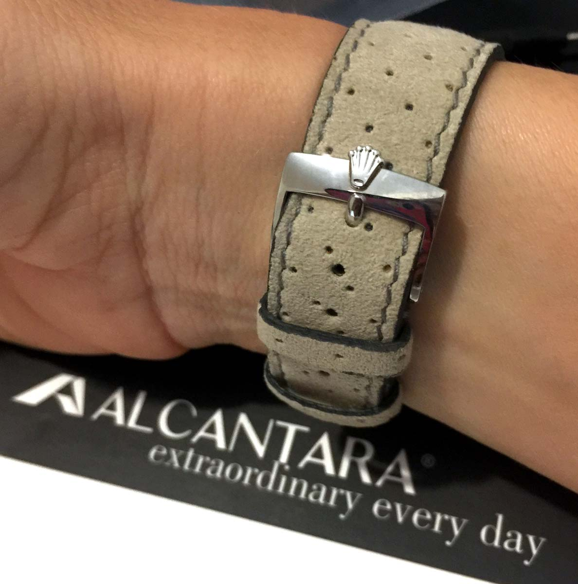 Beige perforated Alcantara® strap 20mm. Quick release