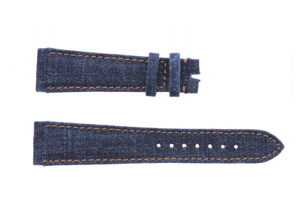 Dark Blue Japanese Denim strap 20mm Rolex Daydate, Dayjust style. Beige stitching