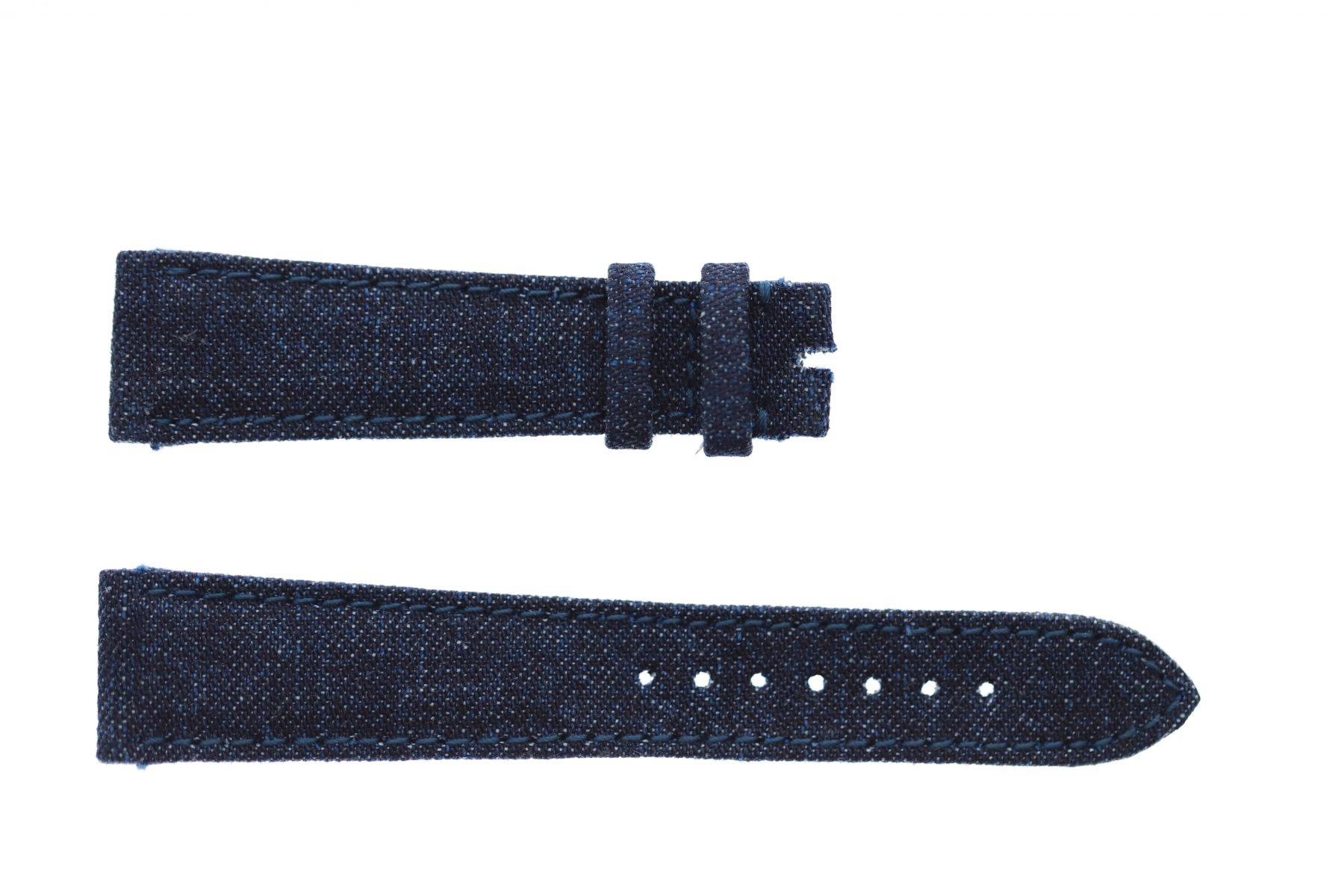 Dark Blue Japanese Denim strap 20mm Rolex Daydate, Dayjust style. On-tone stitching