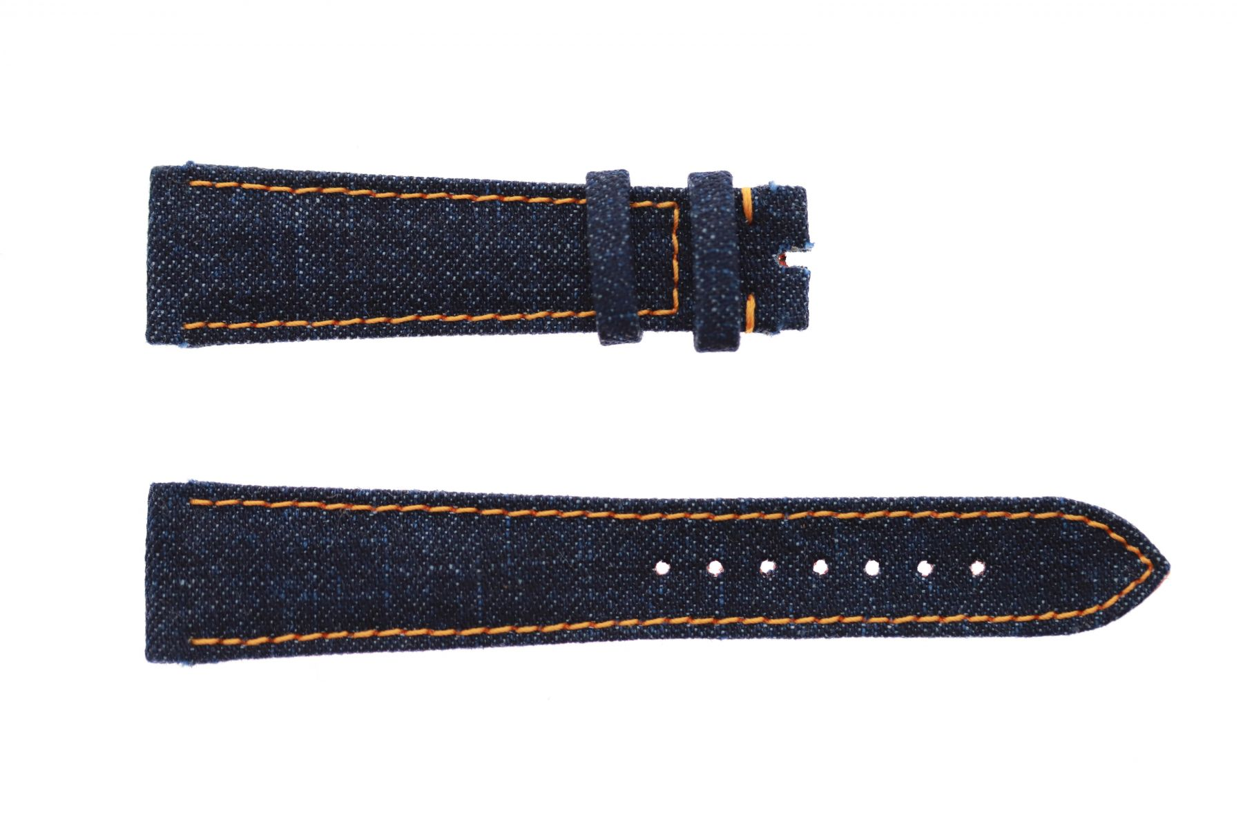 Dark Blue Japanese Denim strap 20mm Rolex Daydate, Dayjust style. Orange stitching