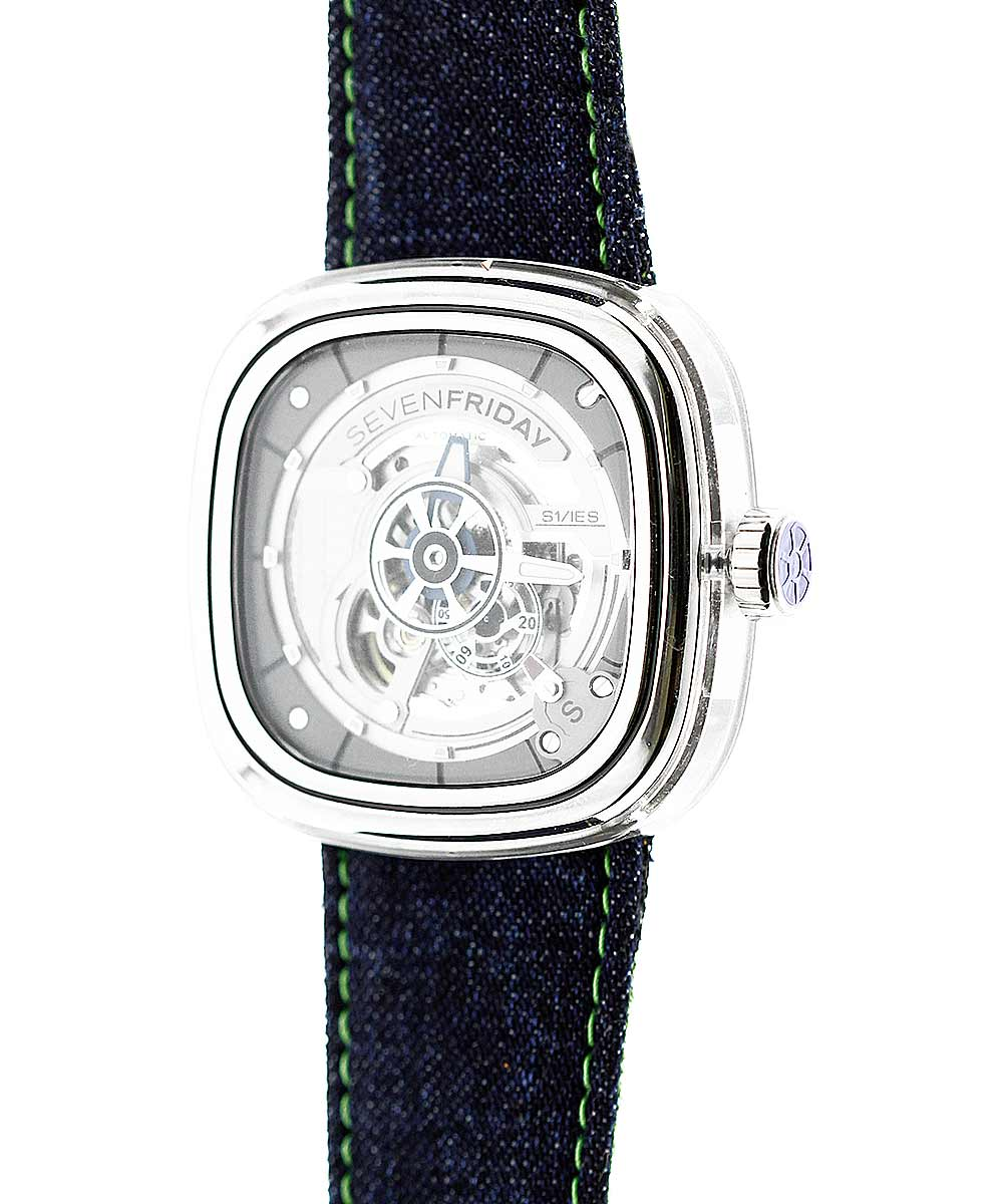 SEVENFRIDAY style Blue Japanese Denim watch strap 28mm. Green stitching