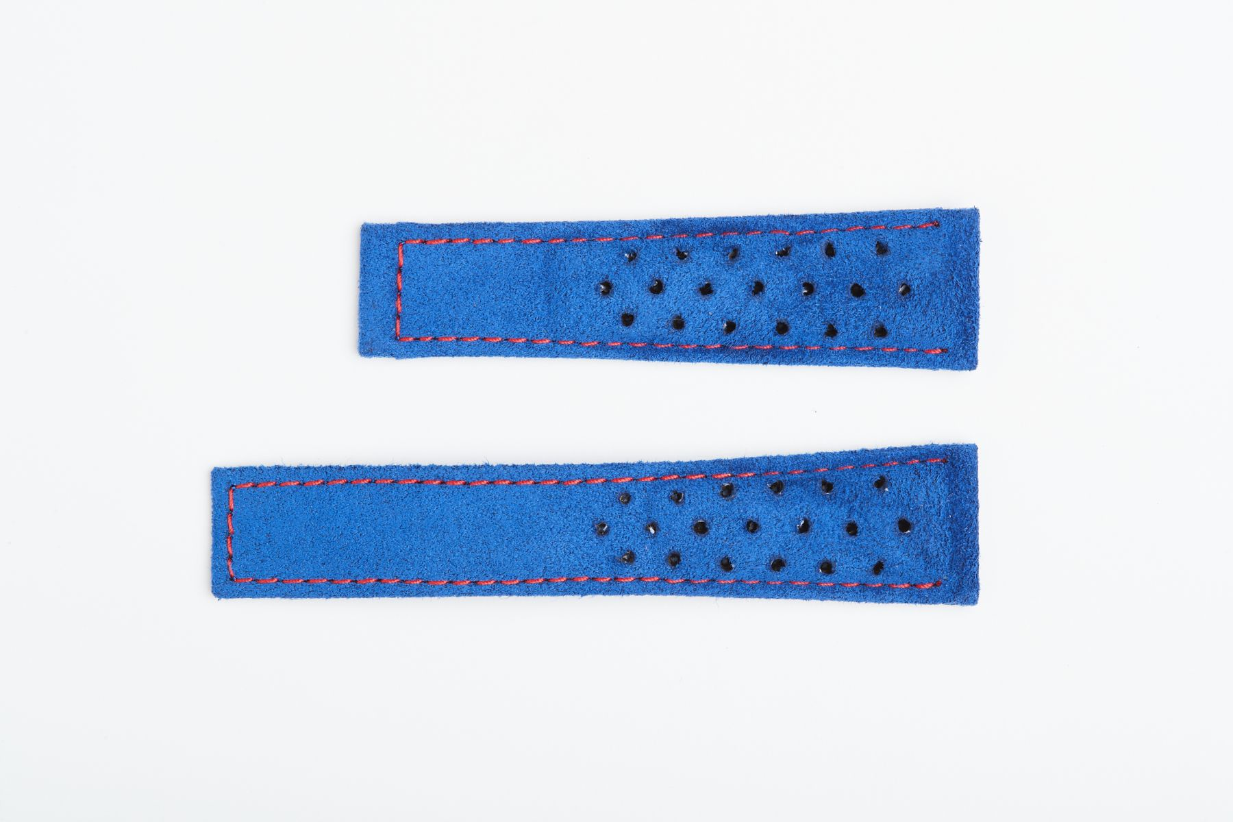 Baltic Blue Italian Alcantara Speedy Watch Band 22mm Tag Heuer Monaco style. Red stitching. Perforated Profile