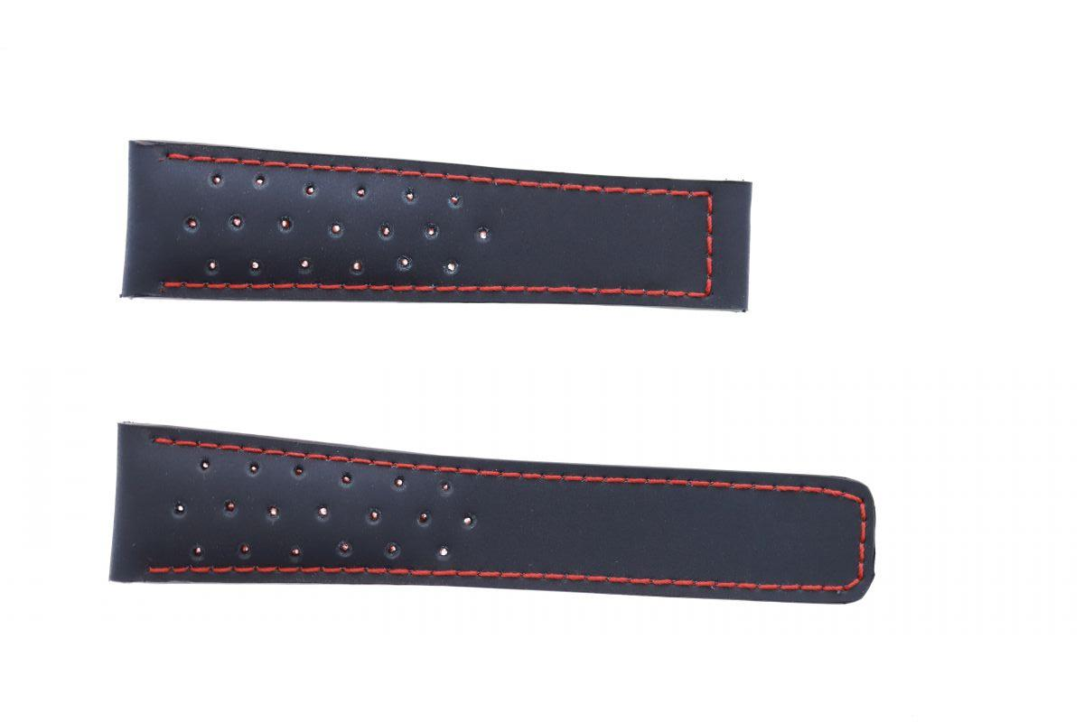 Navy Blue Recycled Rubber 22mm Tag Heuer Monaco style. Perforated Profile
