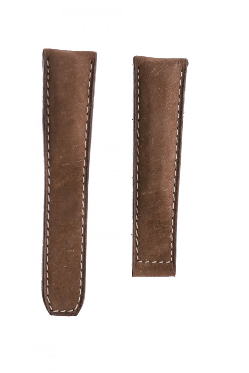 Cigar Brown Watch Band 22mm Tag Heuer Monaco style in Kudu Reverse Antelope Suede-touch leather