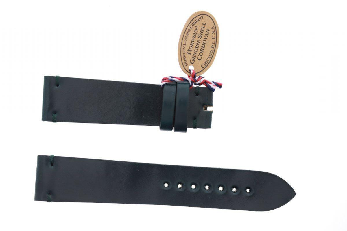 Midnight Green Shell Cordovan leather strap 20mm Tudor Black Bay style