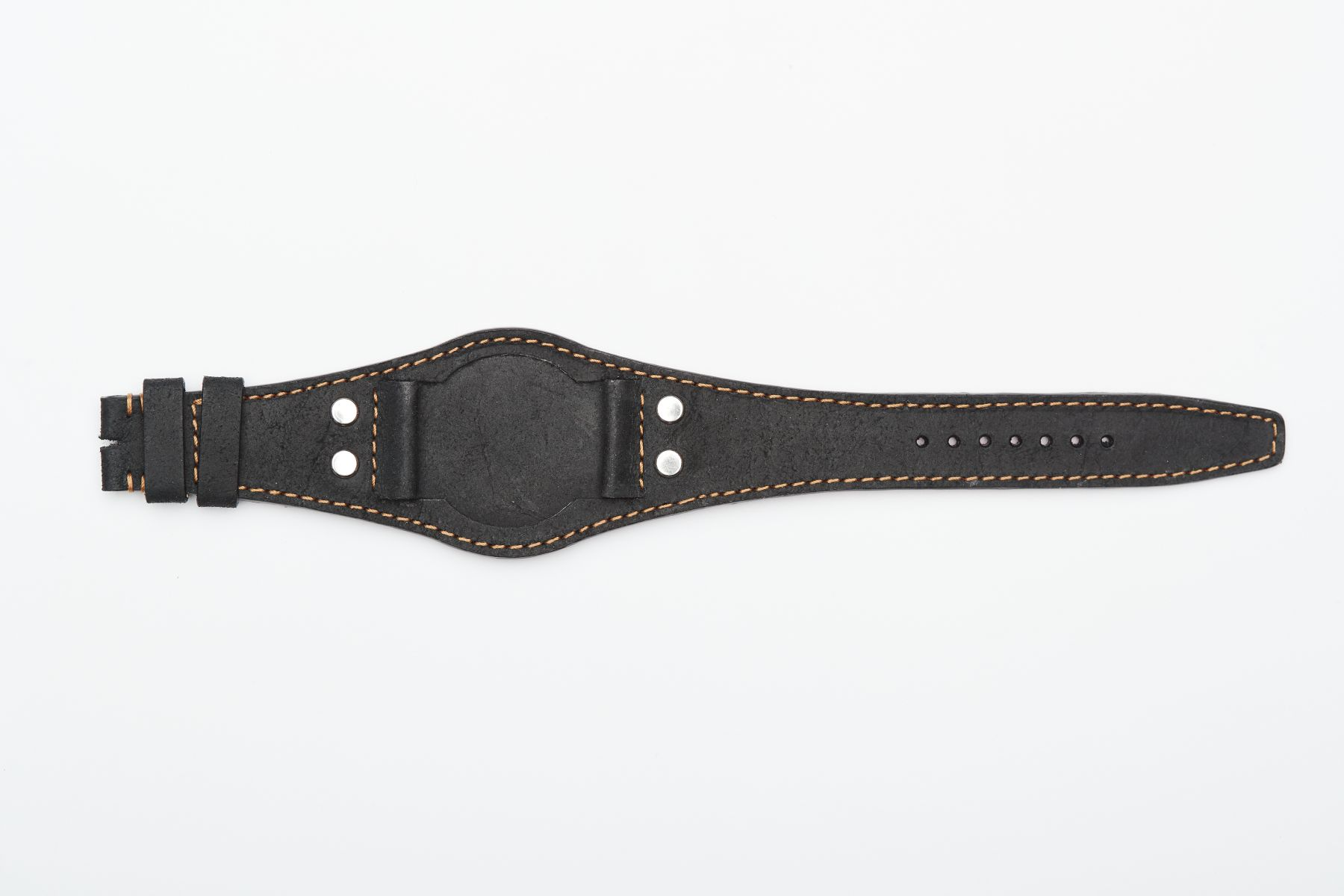 Tudor Heritage Ranger Special style Bund watch strap 22mm lugs in Anthracite	Black Vintage Mohawk leather