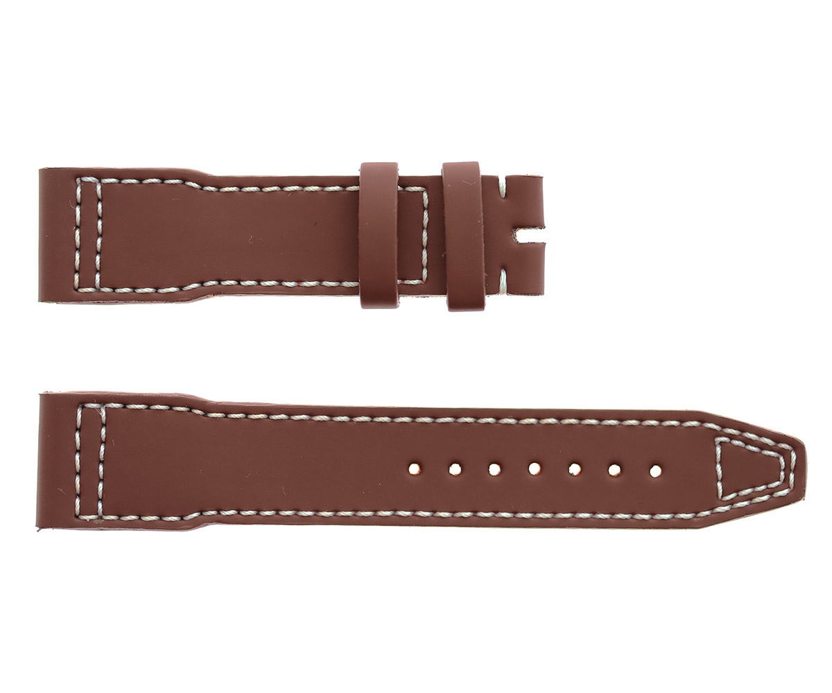 Vegan smooth leather strap 20mm IWC Pilots Watch style timepieces. Brown color