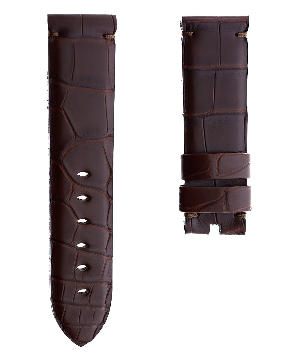 Cognac Brown Alligator leather strap 24mm PANERAI style