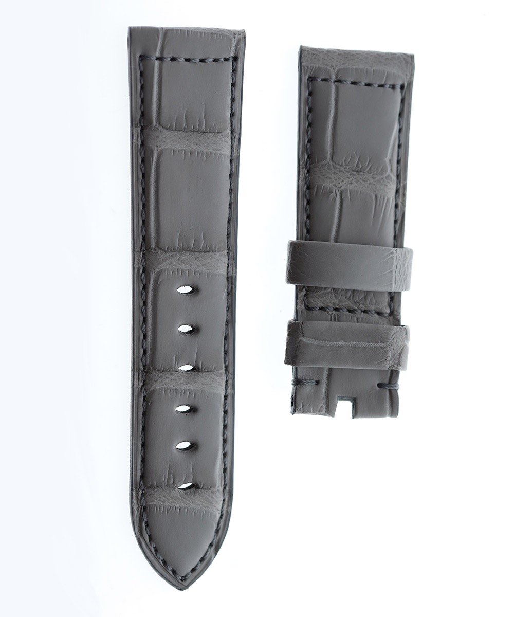 Silver Grey Alligator leather strap 24mm PANERAI style
