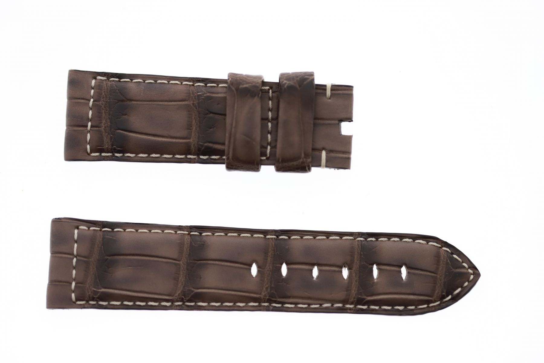 Vintage Matte Brown Wood Alligator leather strap 24mm Panerai style