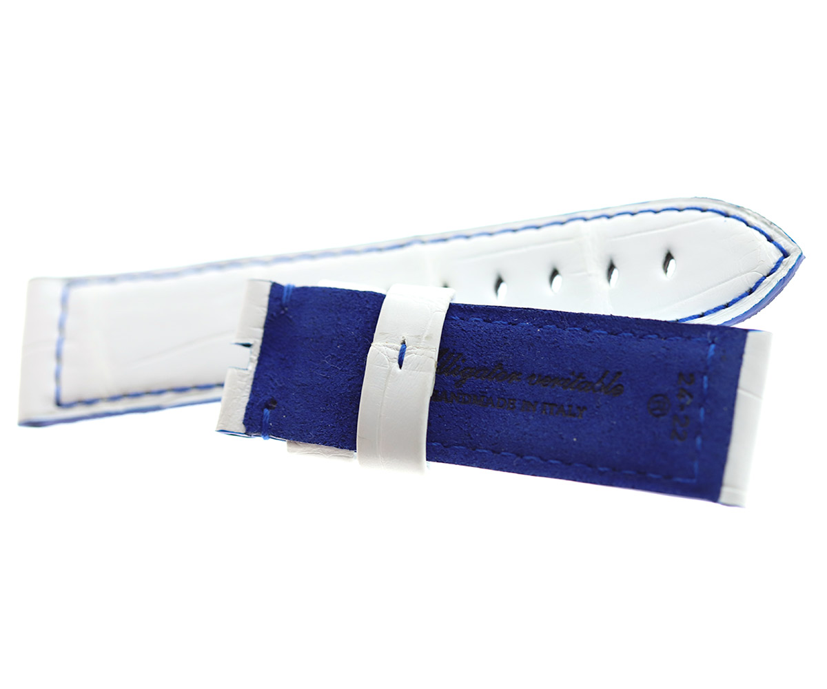 White Alligator leather strap 24mm PANERAI style