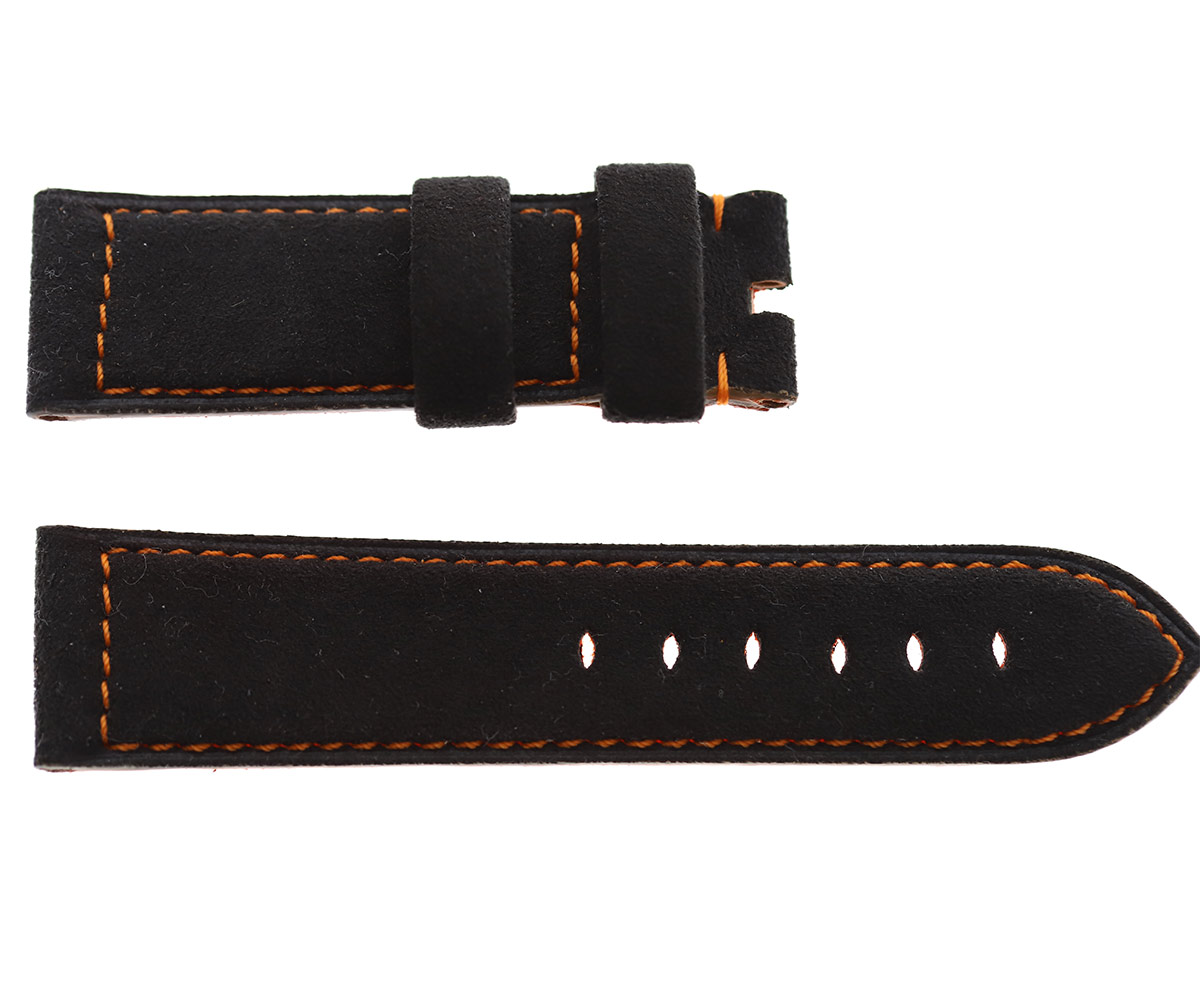 Black Alcantara® Panerai style strap 24mm. Orange Stitching