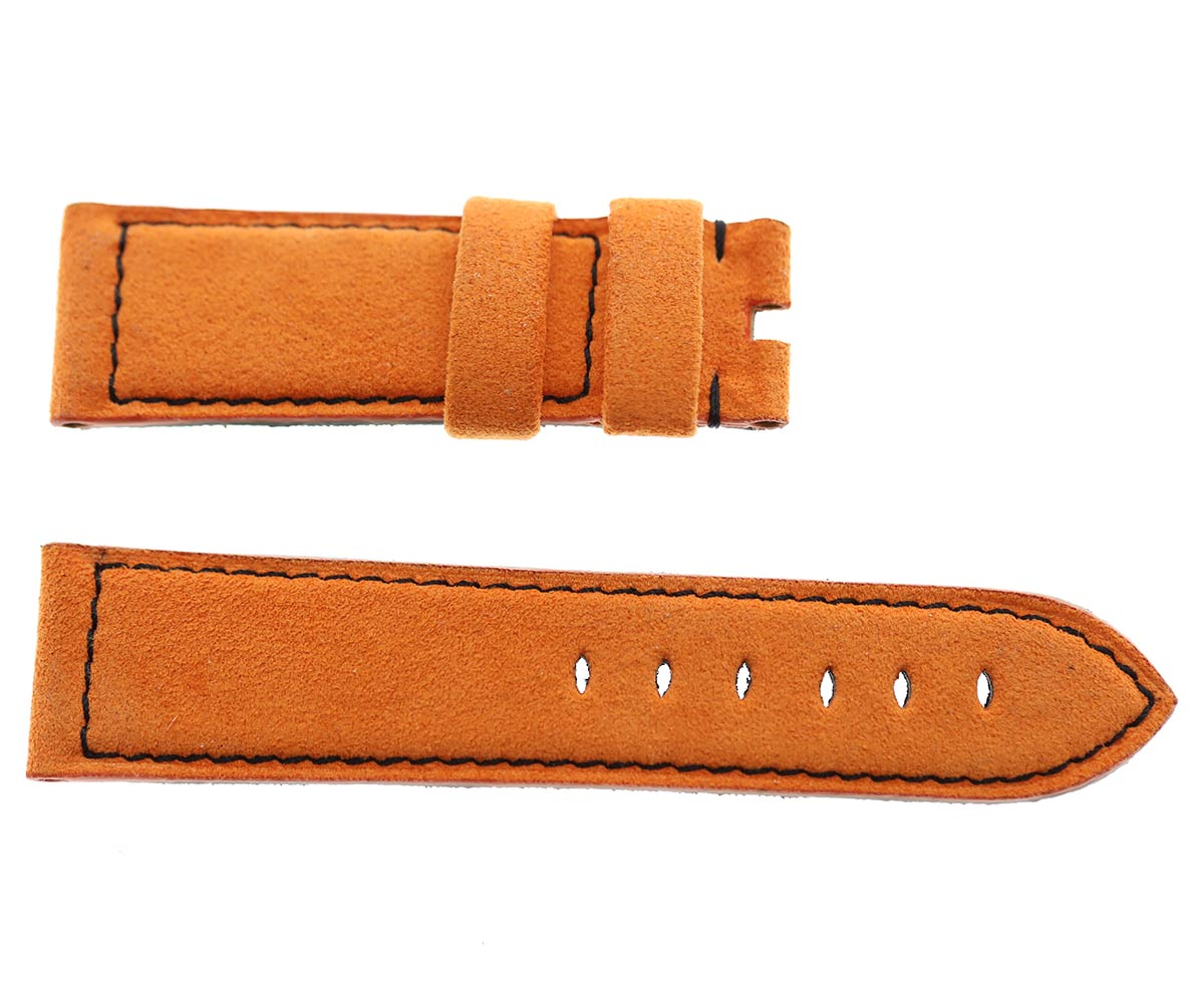 Orange Alcantara® Panerai style strap 24mm. Black Stitching