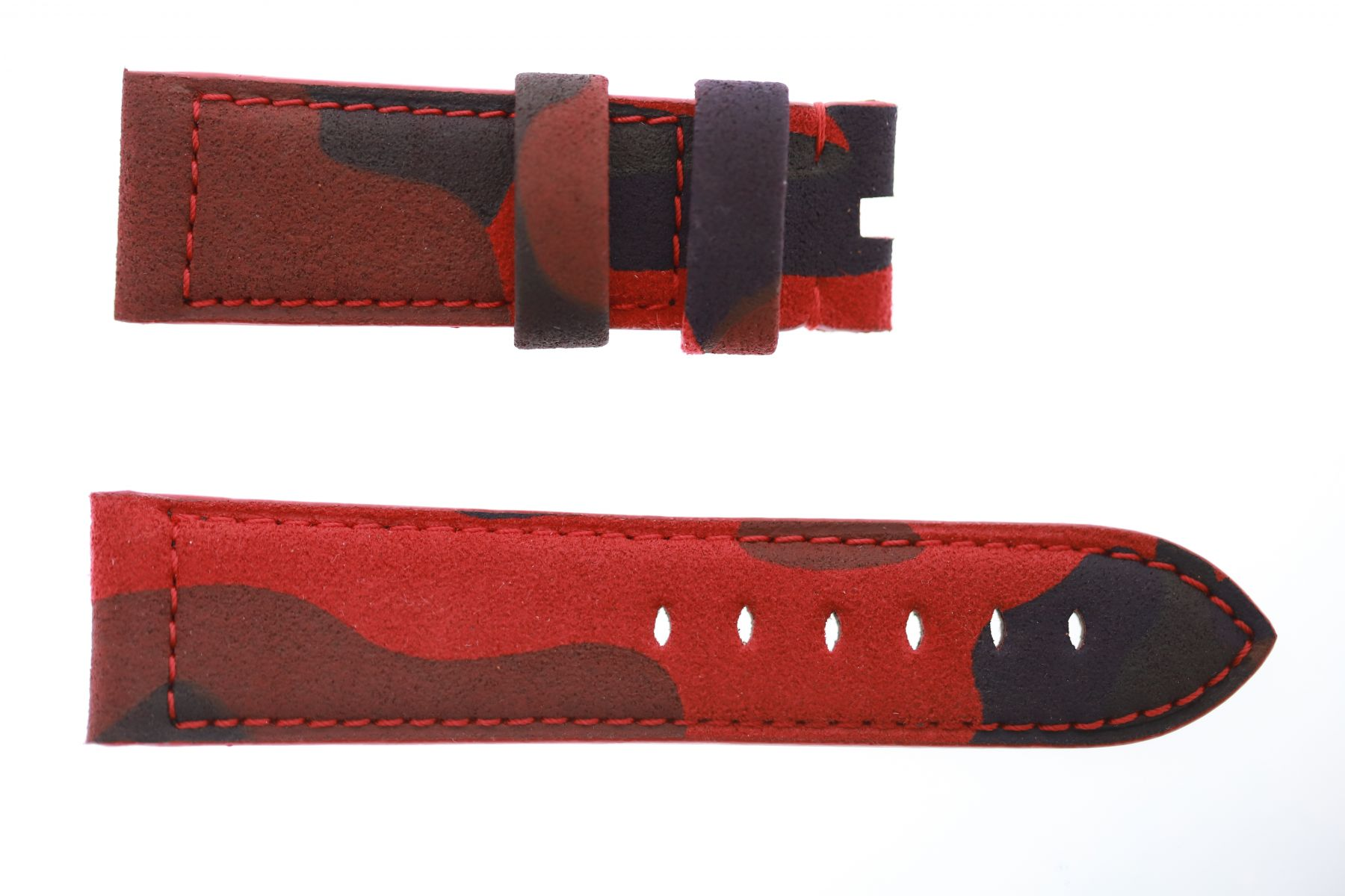 Panerai style 24mm band in Red Acapulco Camouflage Alcantara