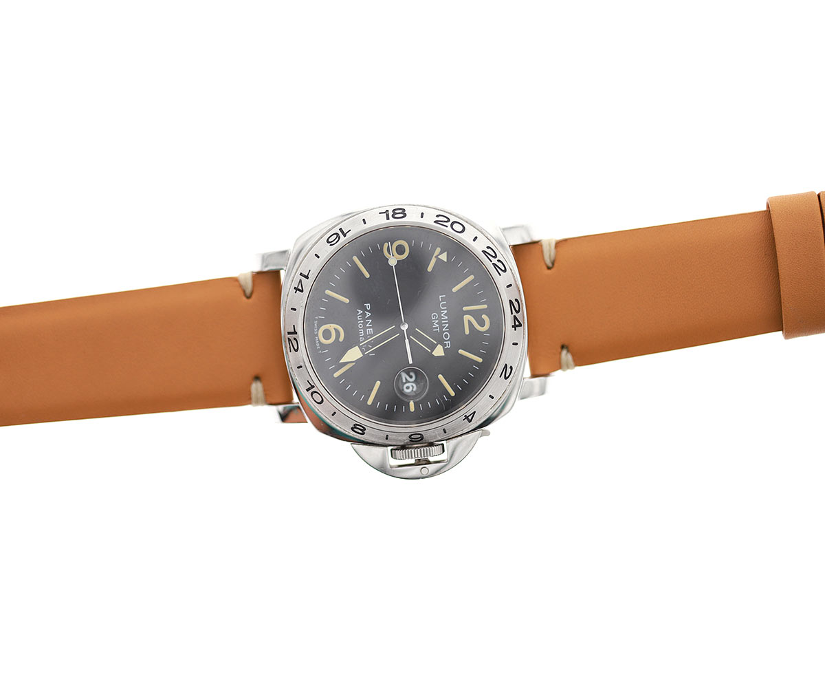 Beige Panerai style watch strap 24mm  in water resistant Scotchgard treated calf leather