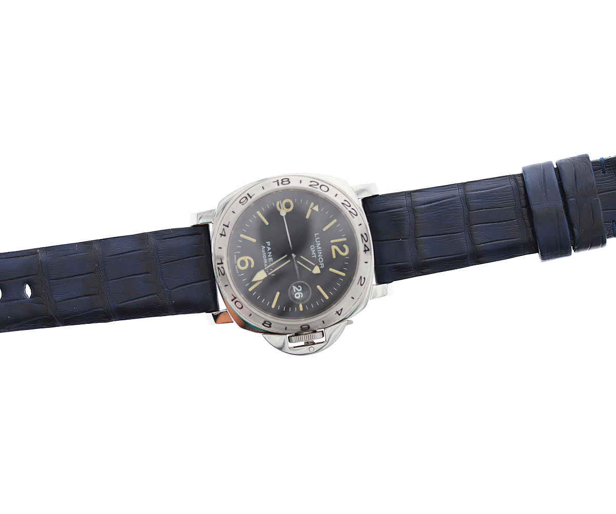 Blue Exotic Latirostris Caiman Leather strap 24mm for Panerai style timepieces