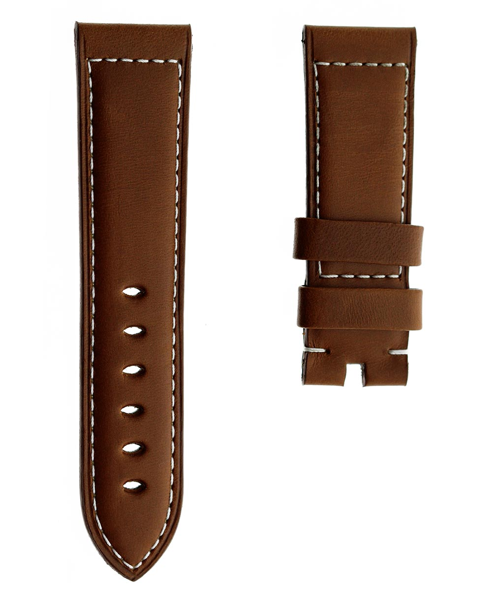 Panerai style 24mm strap in Tanned Brown Calf leather