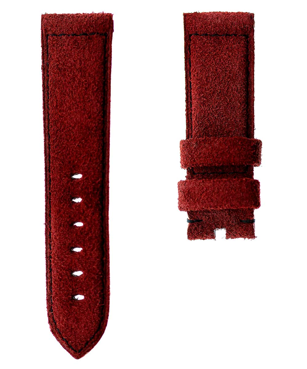 Cherry Suede leather Panerai style band 24mm