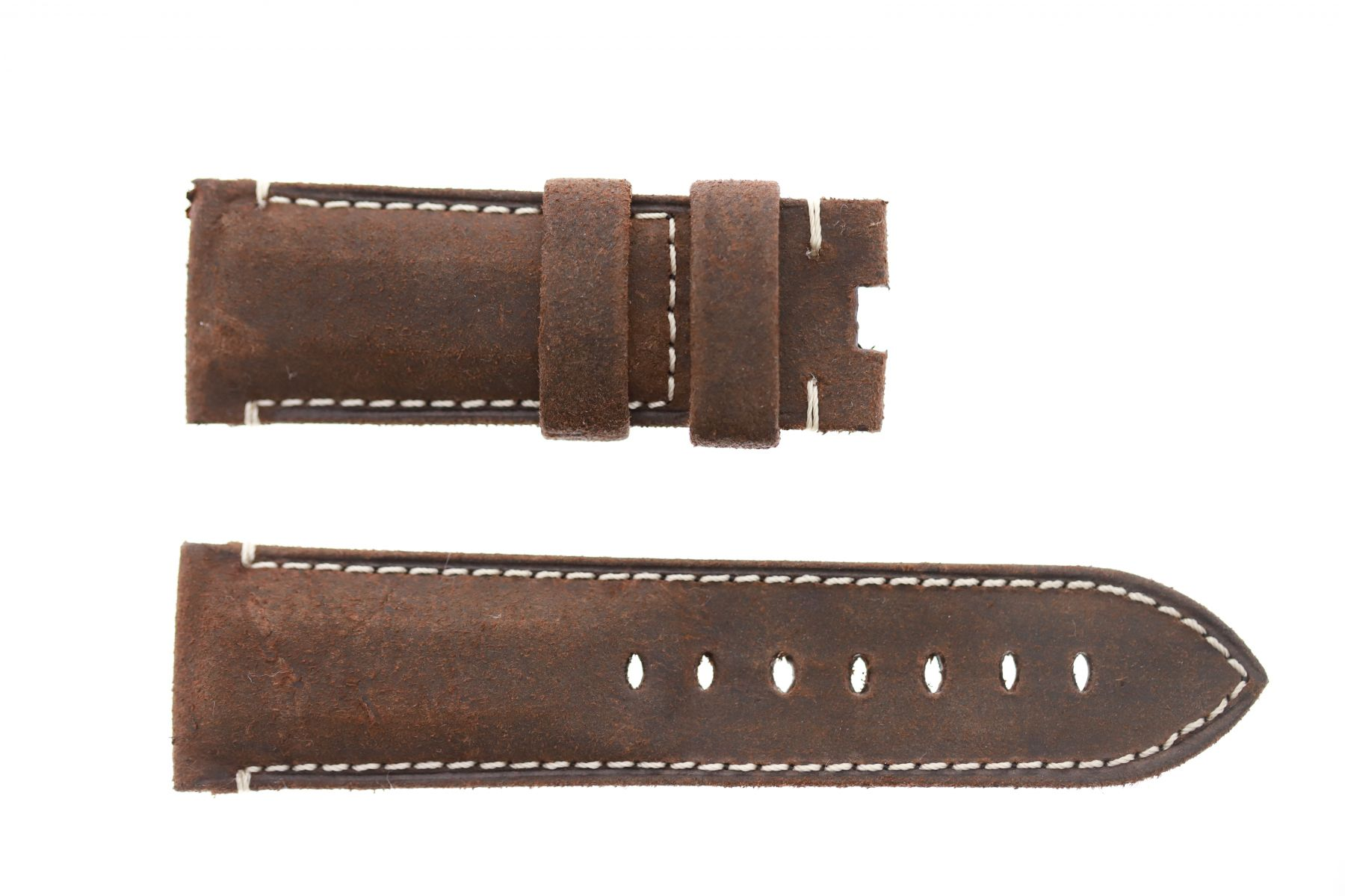 Panerai style 26mm strap in Brown Vintage Mohawk leather. Folded edges