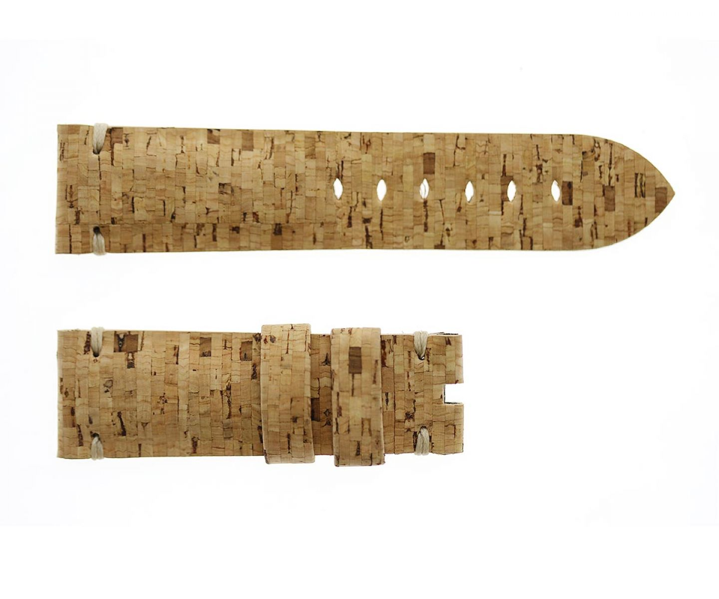 Natural Portuguese Cork strap 24mm for Panerai in Beige Lime pattern. Vegan style