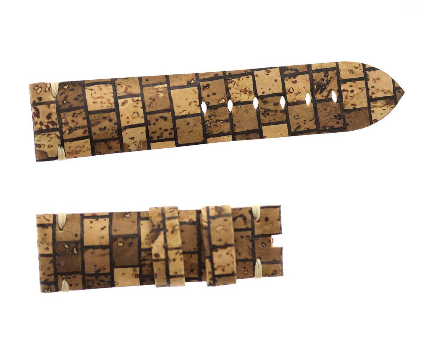 Natural Portuguese Cork strap 24mm for Panerai in Brown Chess pattern. Vegan style