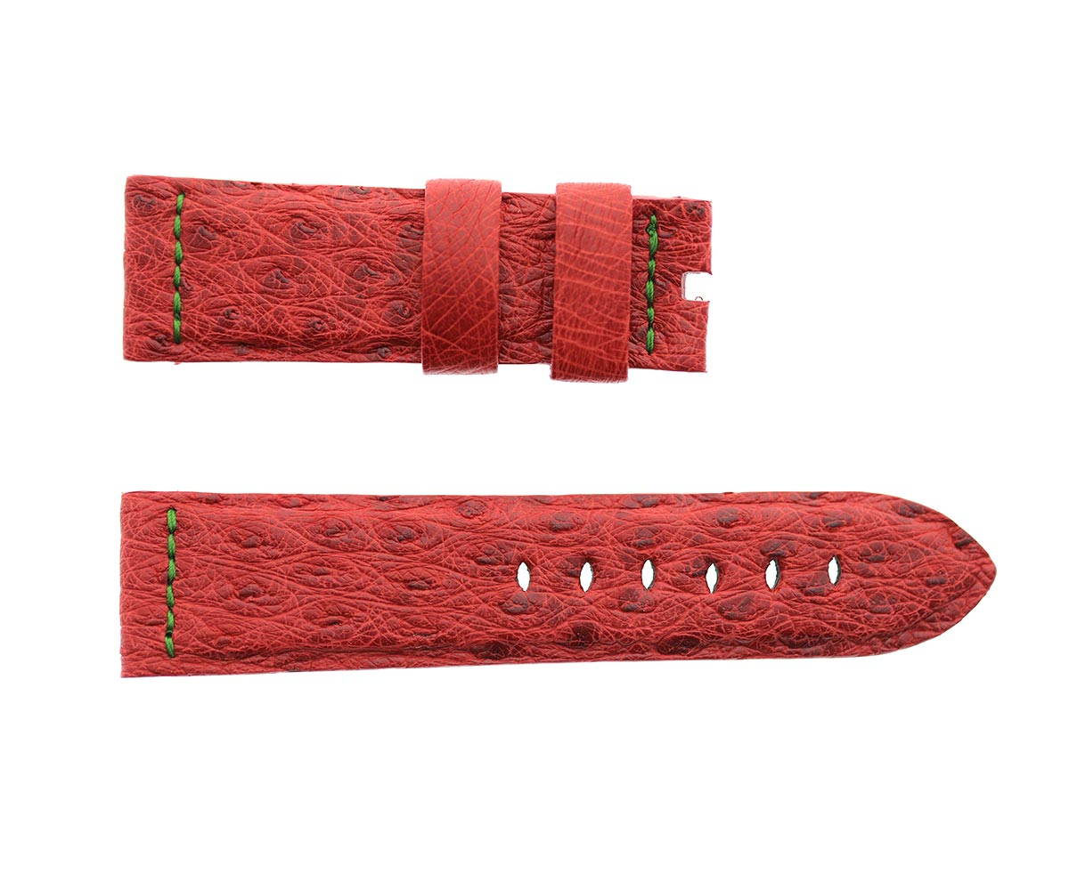 Raspberry Red Ostrich leather strap 24mm Panerai style