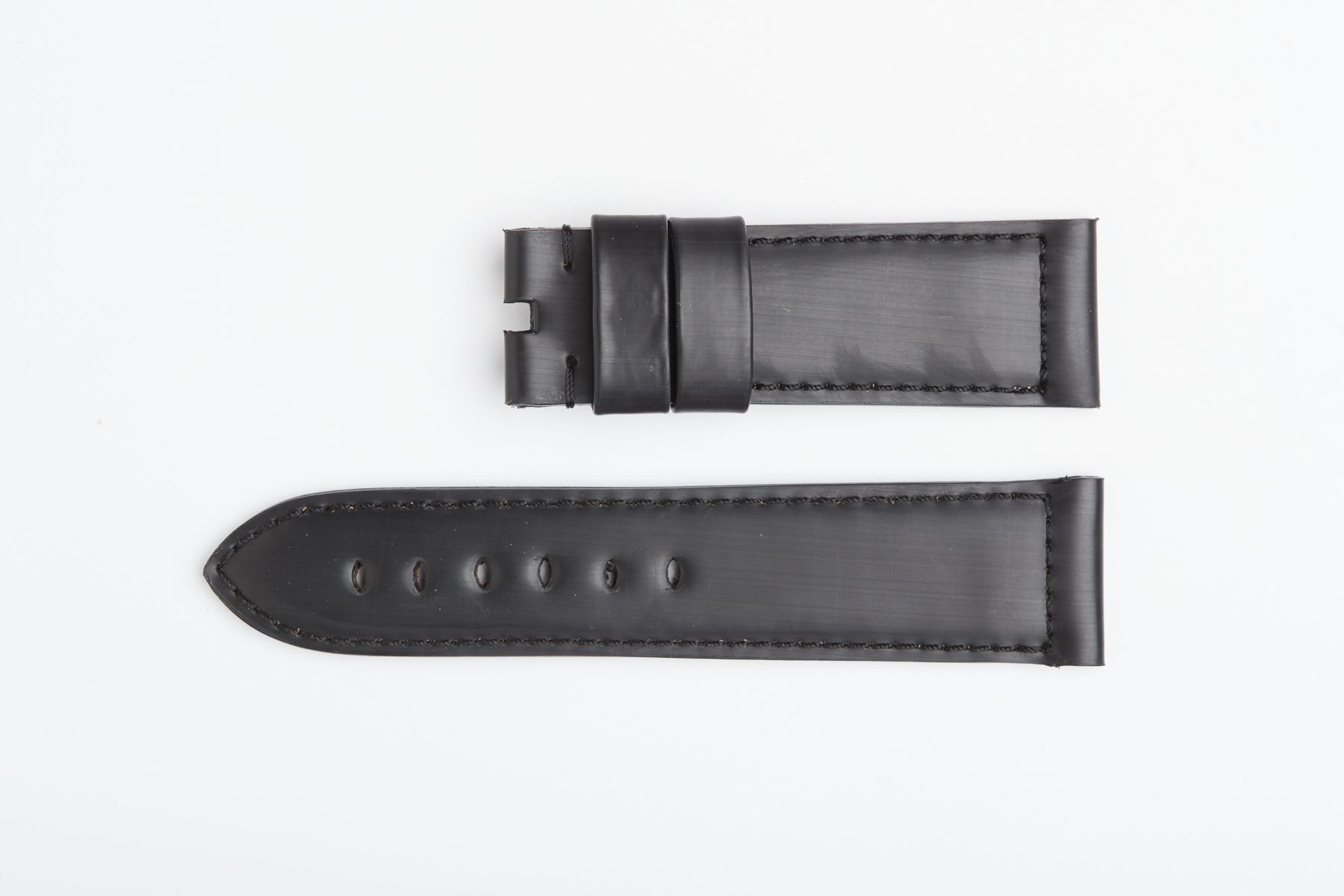 Onyx Black Recycled Rubber strap 24mm for Panerai style timepieces. Vegan style