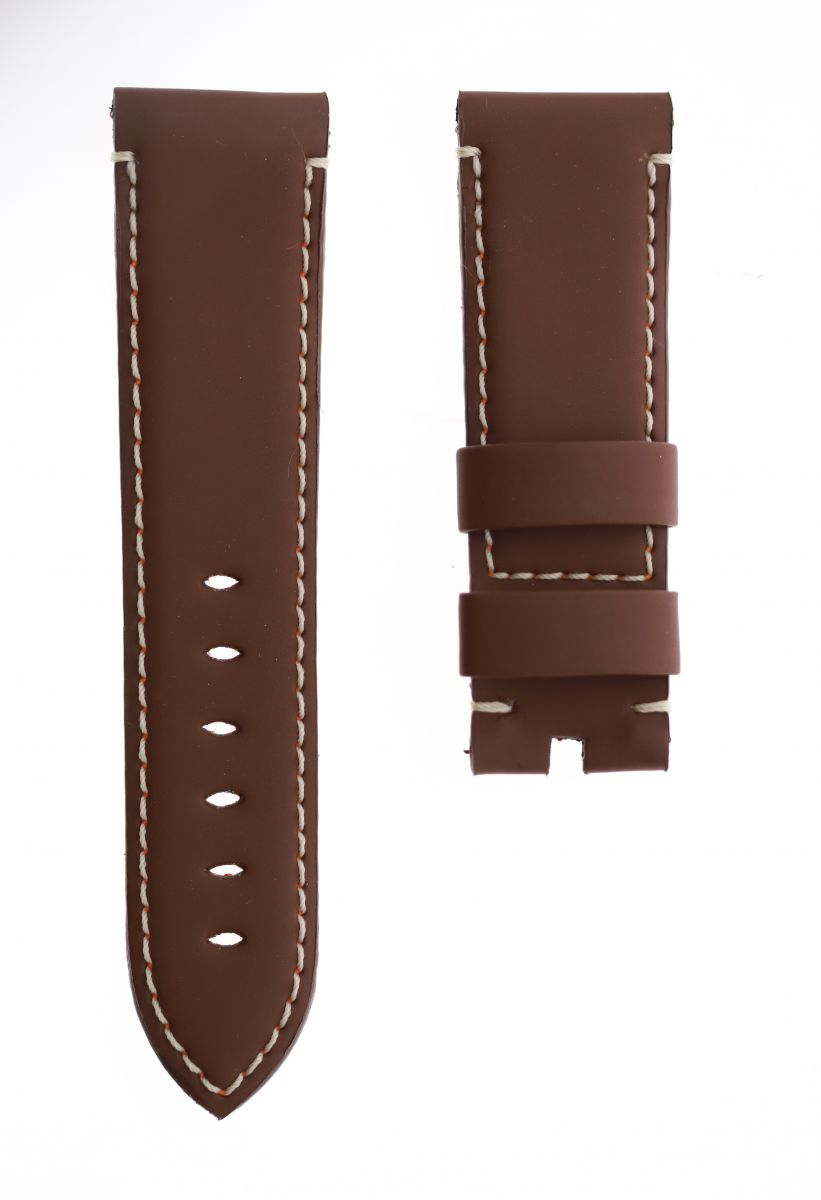 Brown Italian Eco Leather strap 24mm Panerai style. Vegan