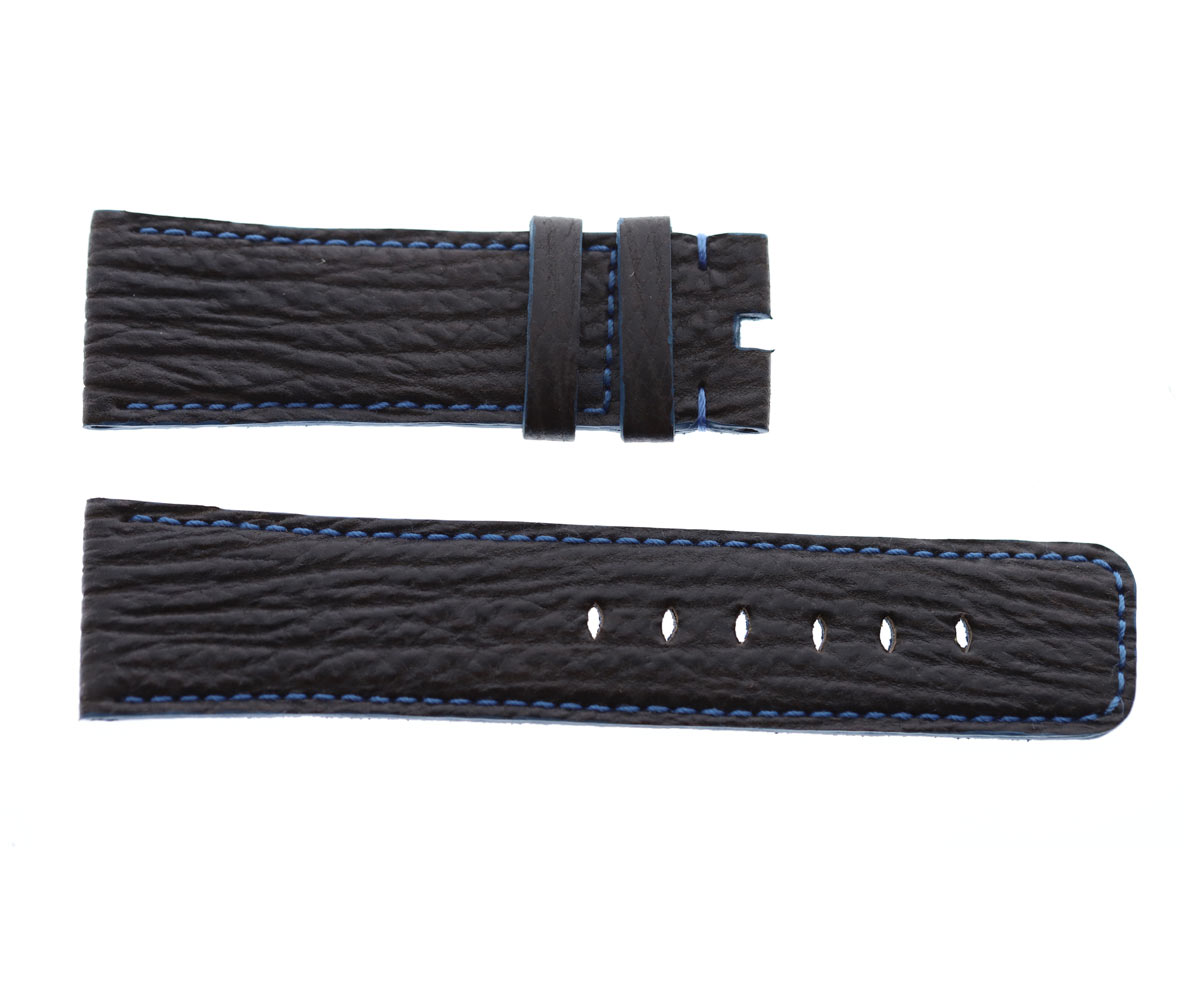 Anthracite Black Shark leather strap 24mm for Panerai. Alcantara lining