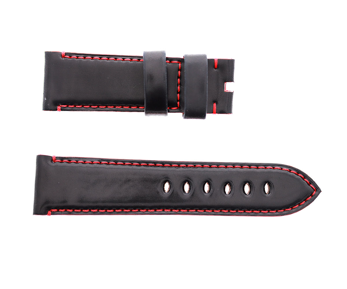 Black Horween Shell Cordovan Panerai style watch strap 24mm. Red stitching