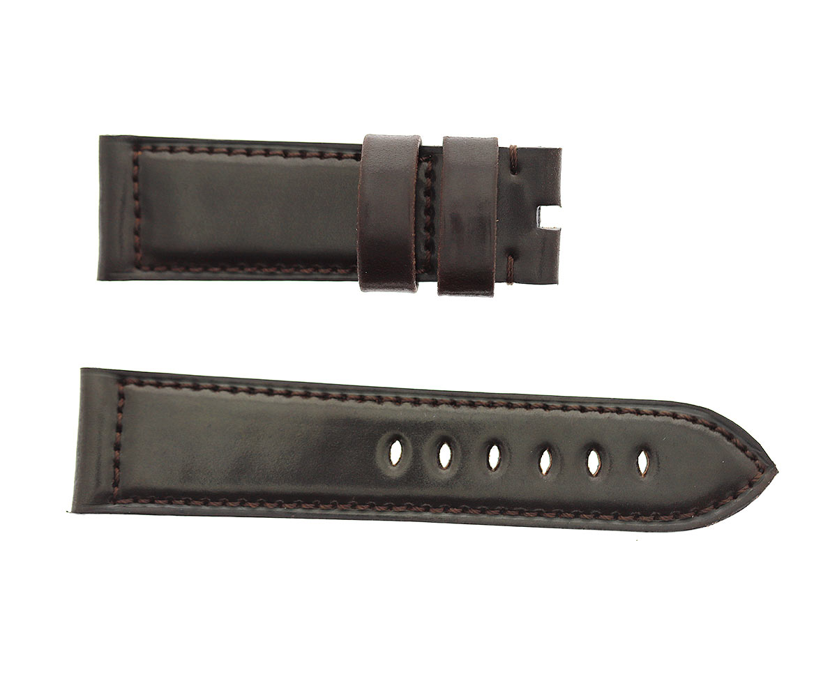 Chocolate Brown Horween Shell Cordovan Panerai style watch strap 24mm