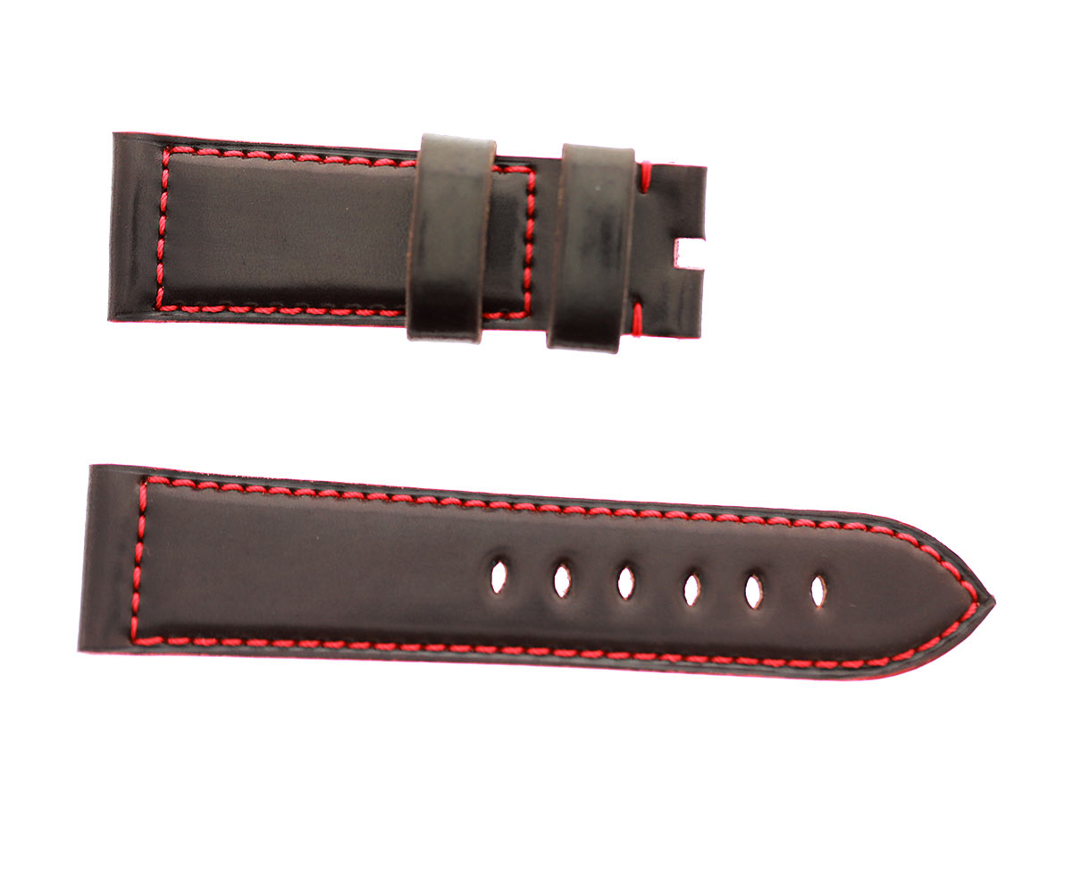 Chocolate Brown Horween Shell Cordovan Panerai style watch strap 24mm. Red stitching