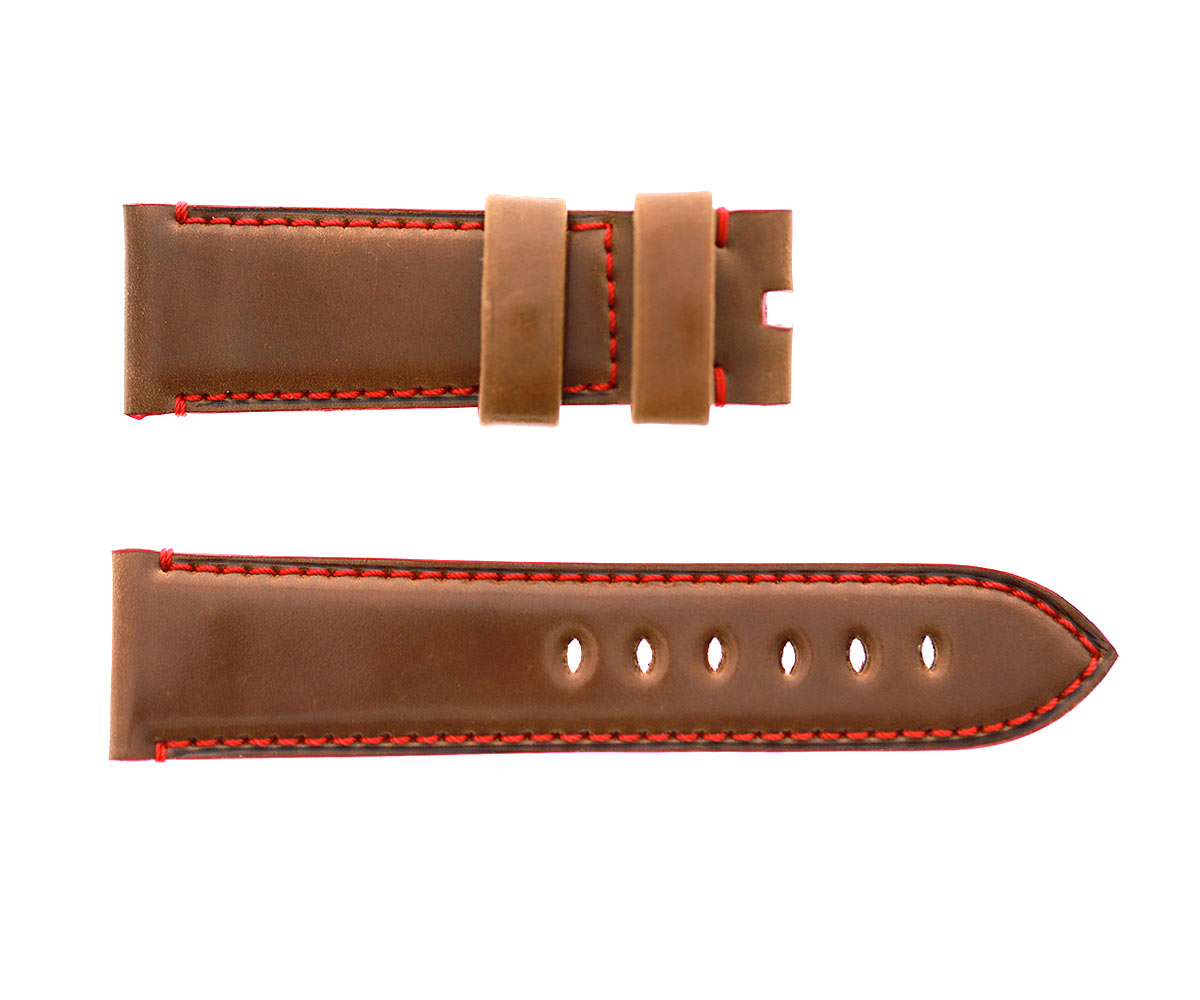 Cognac Brown Horween Shell Cordovan Panerai style watch strap 24mm. Red stitching